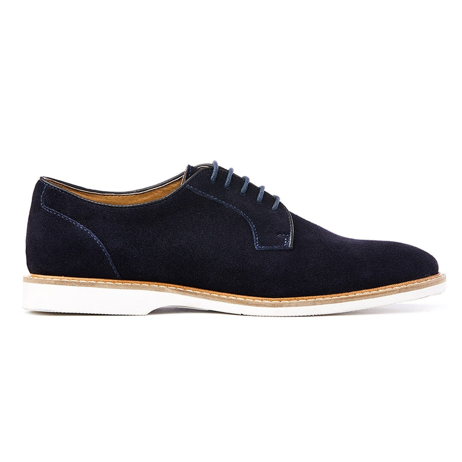 Mens navy suede derby lace-up shoes