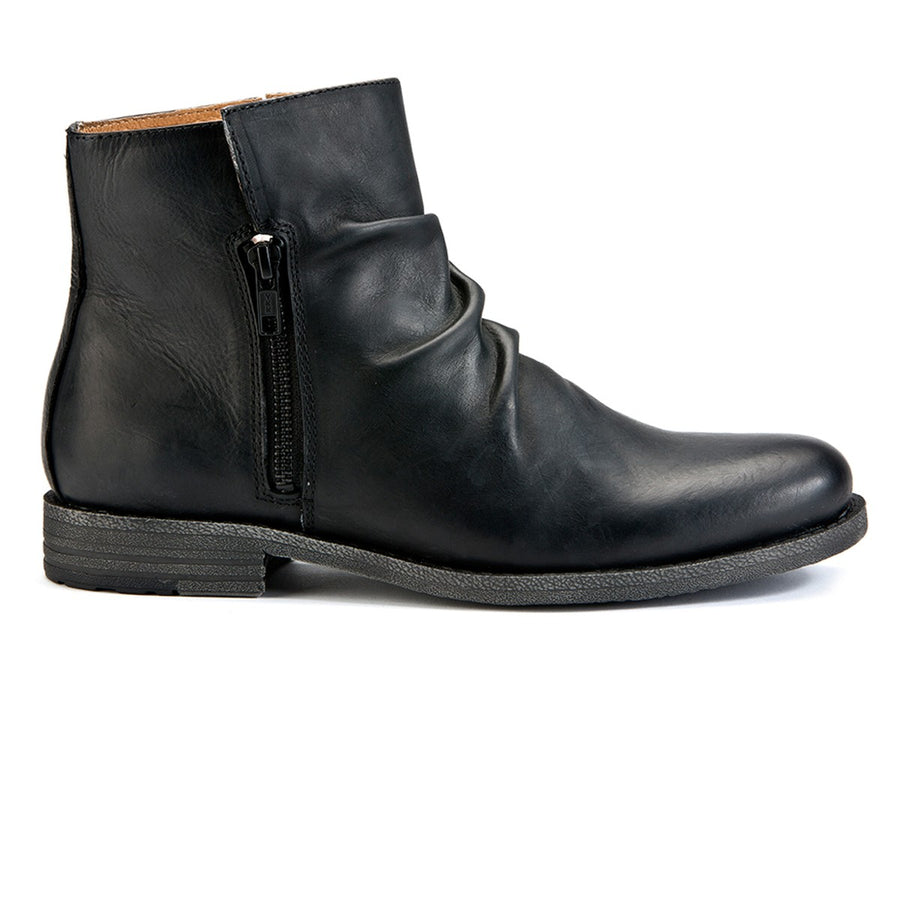 Mens black leather zip-up boots