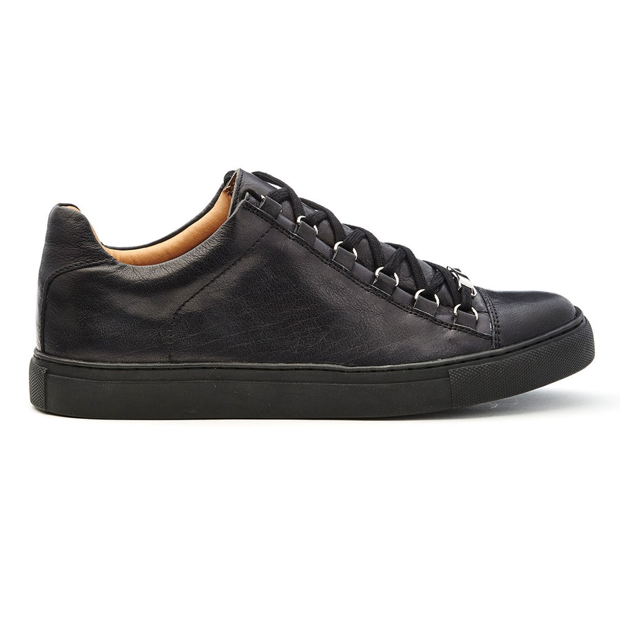Mens navy leather lace-up low-top sneakers