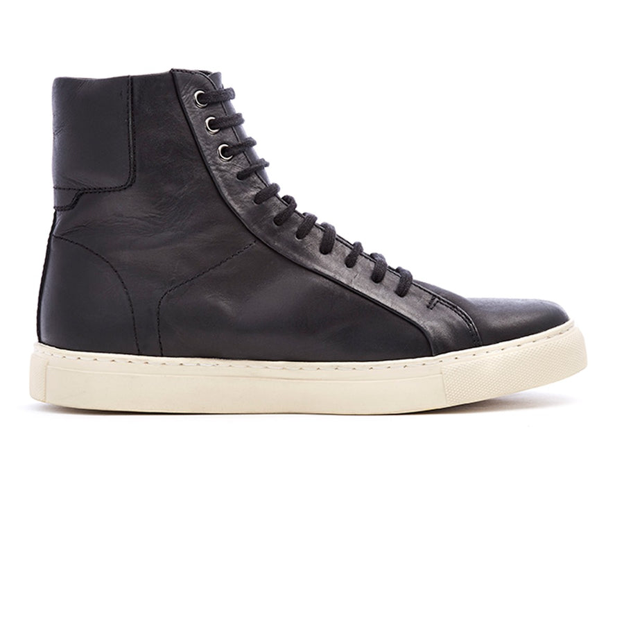 Mens black leather lace-up hi-top sneaker