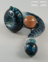 HP Loveglass Blue Stardust and Wig Wag w/ Gold Fume Twist Marble Sherlock Hand Pipe - Headies