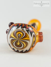 HP Loveglass Wig-Wag Hand Pipe - Thomas' Transparent Orange w/ Fire Line Work - Headies