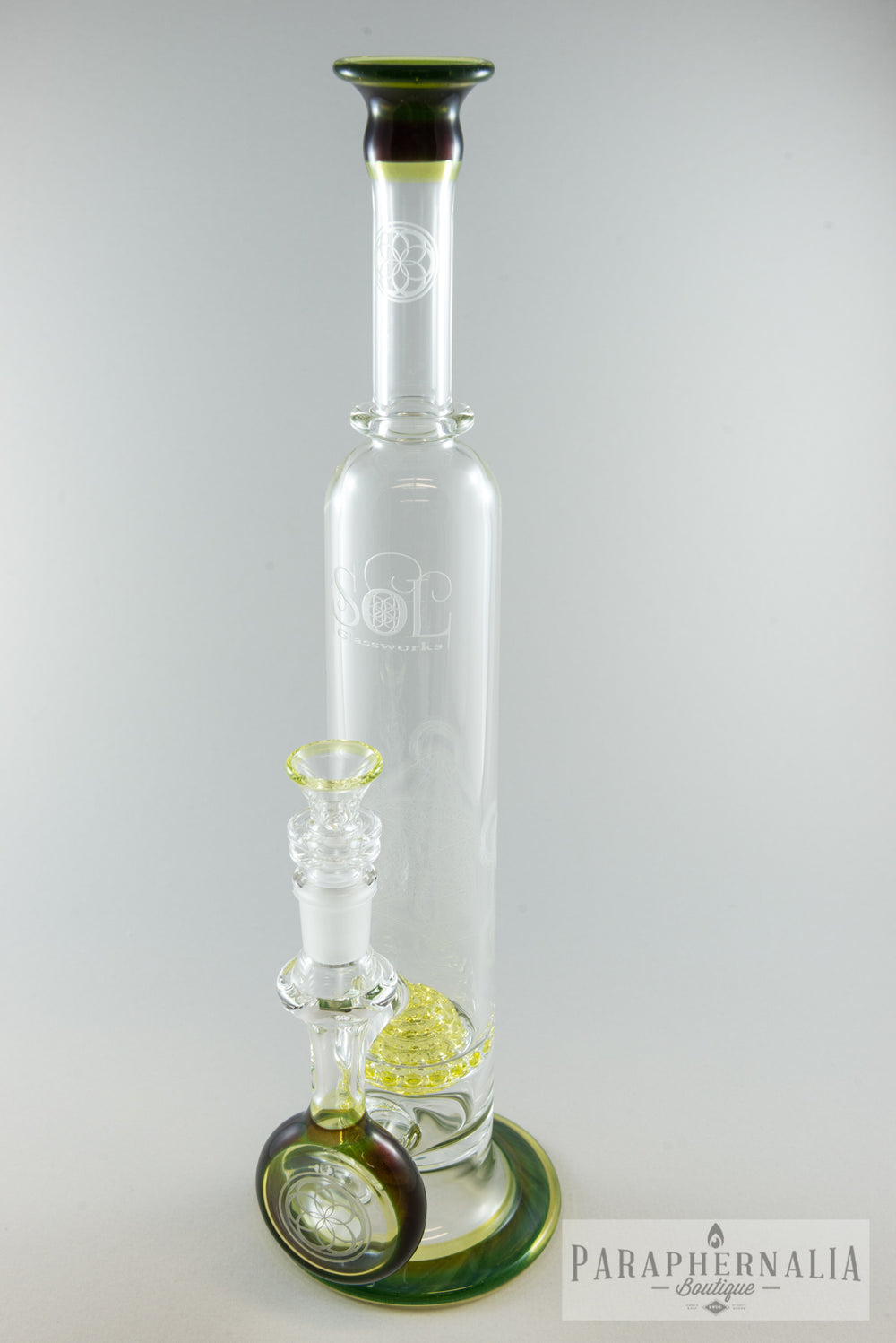 Seed of Life Glassworks (SOL) Alien Tech/ Illuminati Stemless Lace Sphere Water Pipe - Headies