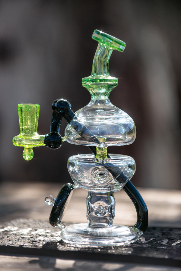 Glassfinger Studios UV Illuminati & Black Penetration Fab Egg Rigs w/ UV Lucy Shield - Headies