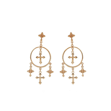 FREE Shipping - Multiple Cross Dangle Earrings Chandelier Jewelry Vintage Gold Color Cross