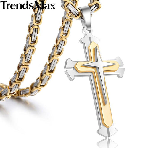 Stainless Steel Chain 3 Layer Knight Cross Silver Gold Black Color Mens Necklace