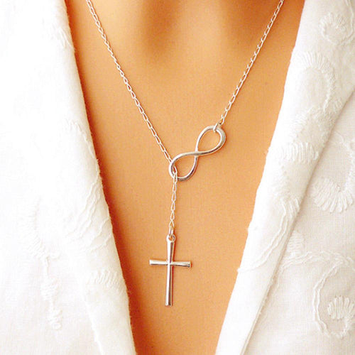 Lovely Infinity Cross Necklaces on a Long Silver Chain