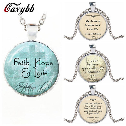 Christian Jewelry Bible Pendant Love Hope Faith Quote 1 Corinthians 13:13 Verse