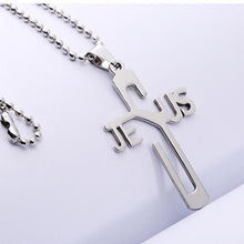 Jesus Cross Stainless Steel Pendant & Necklace Men's Alloy Chain