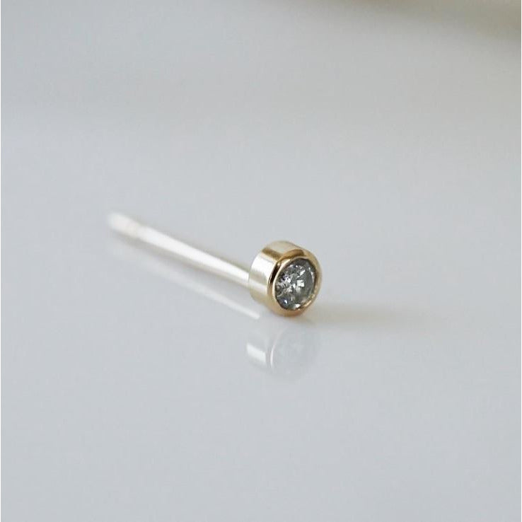 Tiny Grey Diamond Stud