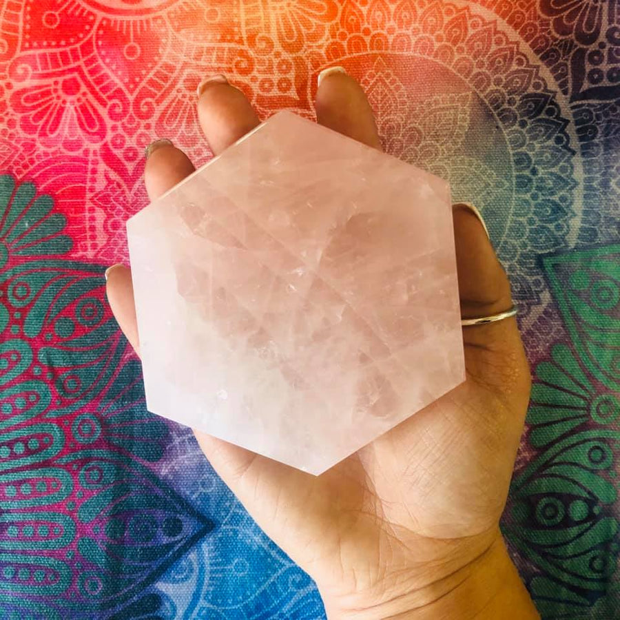 Rose Quartz Charging Plate Hexagon