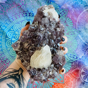 Amethyst Cluster With Calcite