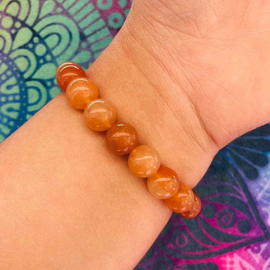 Orange Aventurine Beaded Bracelet