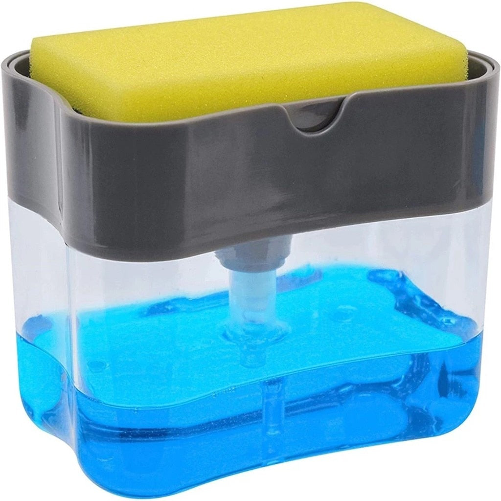 2-in-1 Sponge Box With Soap Dispenser Double Layer Kitchen Plastic