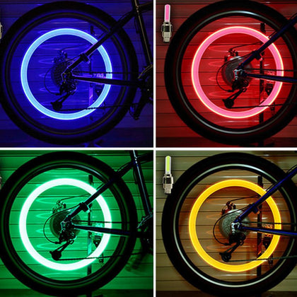2PCS Bicycle Neon LED Flash Light Tire Valve Cap Cover Wheel