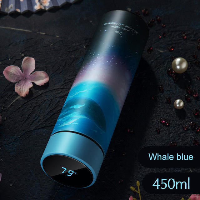 Temperature Display Stainless Steel Water Bottle Travel 450ml