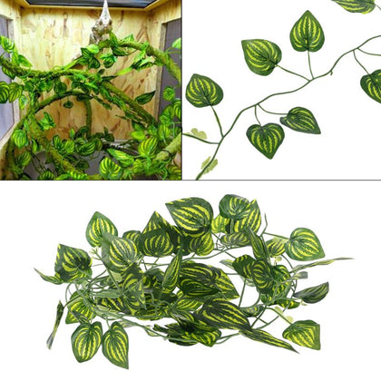 Artificial Vine Reptile Lizards Terrarium Decoration Chameleons Climb Rest Plants Leaves