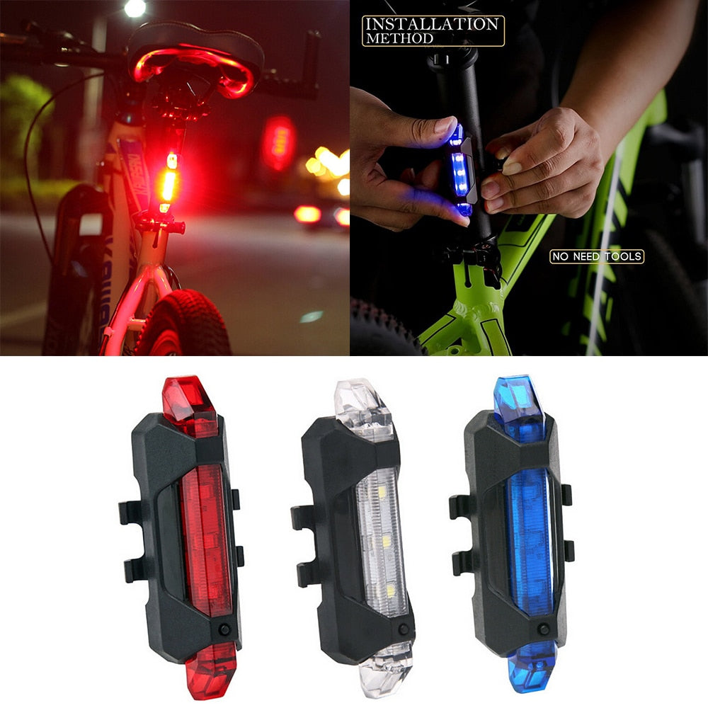 LED Light Waterproof Rear Tail USB Rechargeable Bike Cycling