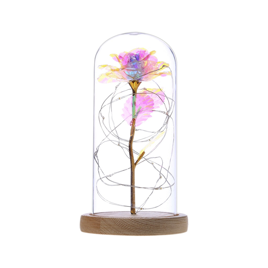 Galaxy Enchanted Rose In Glass LED Light