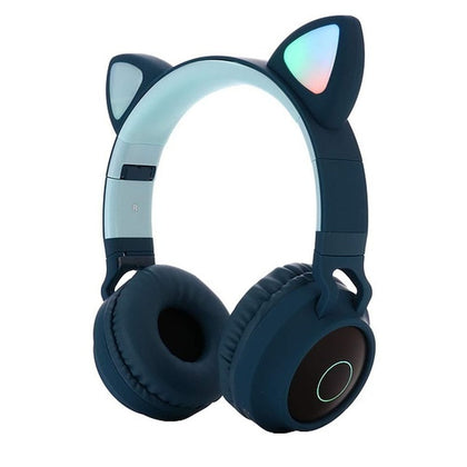 LED Light Cute Cat Ear Headphones Bluetooth 5.0 Stereo Foldable Wireless With Mic Support TF Card