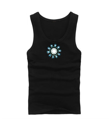 Mens Vest For Iron Man Cosplay Luminous Tank Tops Shirt Costume