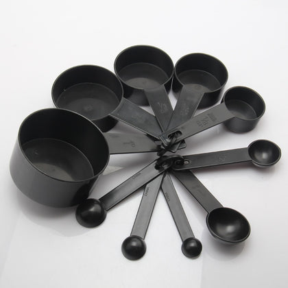 Black Color Plastic Measuring Cups And Measuring Spoon Scoop For Baking Coffee Tea Kitchen Tool  10 pcs/set