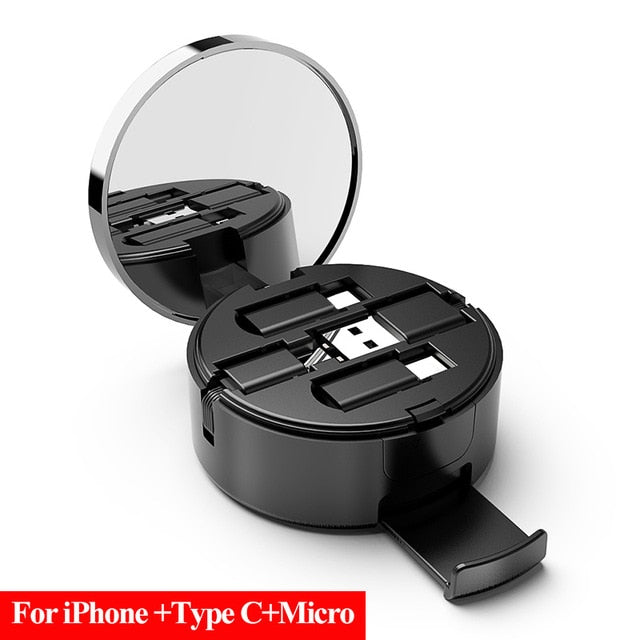 2 in 1 Type C Port +Micro USB Cable Android Retractable Charger USB Port Data Transfer