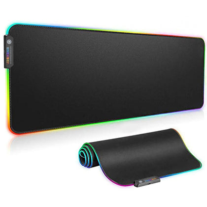 RGB Luminous Gaming Mouse Pad Colorful Oversized Glowing USB LED Keyboard PU Non-slip Blanket Mat