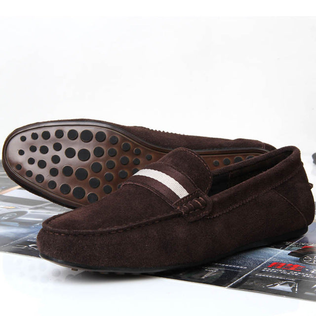 Wine Red Fashion Suede Leather Slip On Loafers Driving Men Cars Shoes