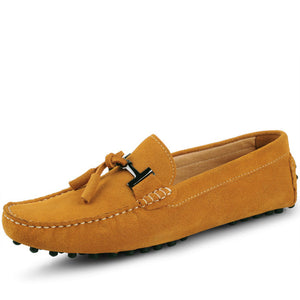 US6-11 Big Size 45 Cow Suede Leather Mens Slip On Loafers Casual  Driving Car Shoes Moccasin Boat Shoes Tassel Loafer