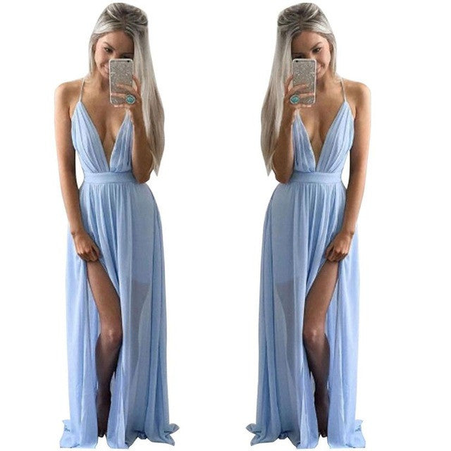 Women Chiffon Long Dress 2017 Summer Sleeveless Boho Evening Party Beach Dress Sexy Deep V Neck 4 Colors Split Maxi Dress