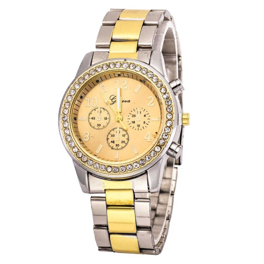 Smileleefaux chronograph men watches strap gold and silver round dial diamond watch for men ladies elegant watches gold horloge