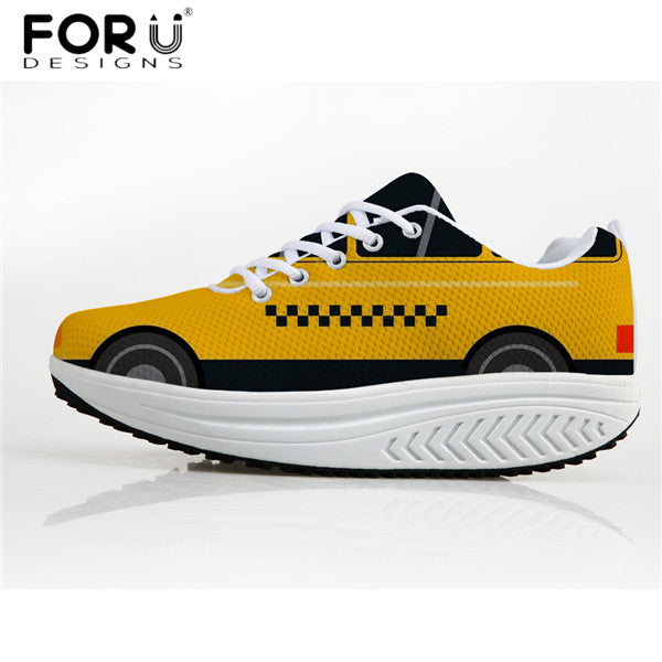 FORUDESIGNS Unique 3D Car Pattern Women Height Increasing Shoes Autumn Women's Casual Swing Shoes Flats Platform Shoes Woman