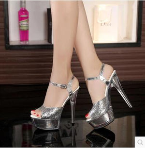 2017 New Nightclub Sexy Thick Bottom Car Models Shoes 15cm High-heeled Sandals Silver Sequins Wedding Shoes Plus Size 34-43