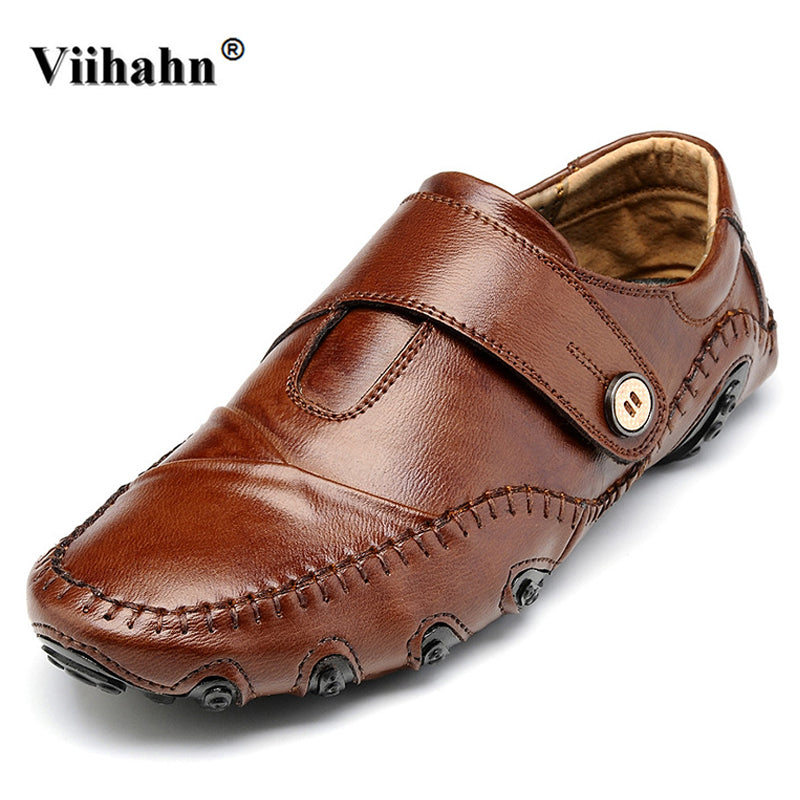Viihahn Mens Loafers Men Casual Car Driving Shoes Male Soft Moccasins Genuine Leather Slip On Flats Shoes