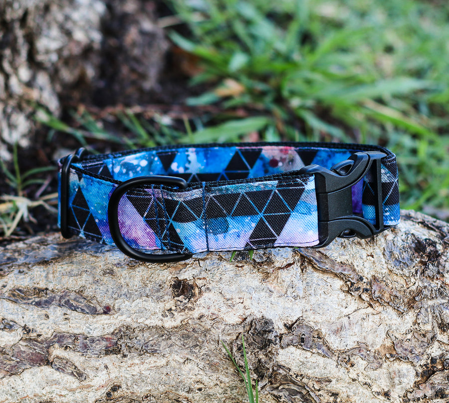 Eco-Canvas Monochrome Space Triangles Dog Collar