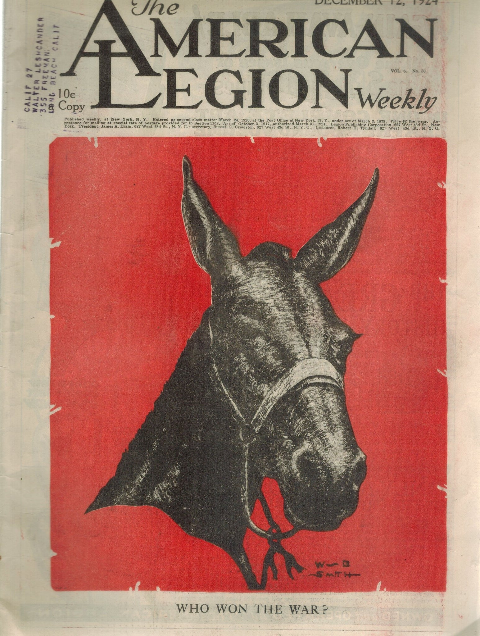 THE AMERICAN LEGION WEEKLY VOL. 6 NO. 50 DECEMBER 12, 1924