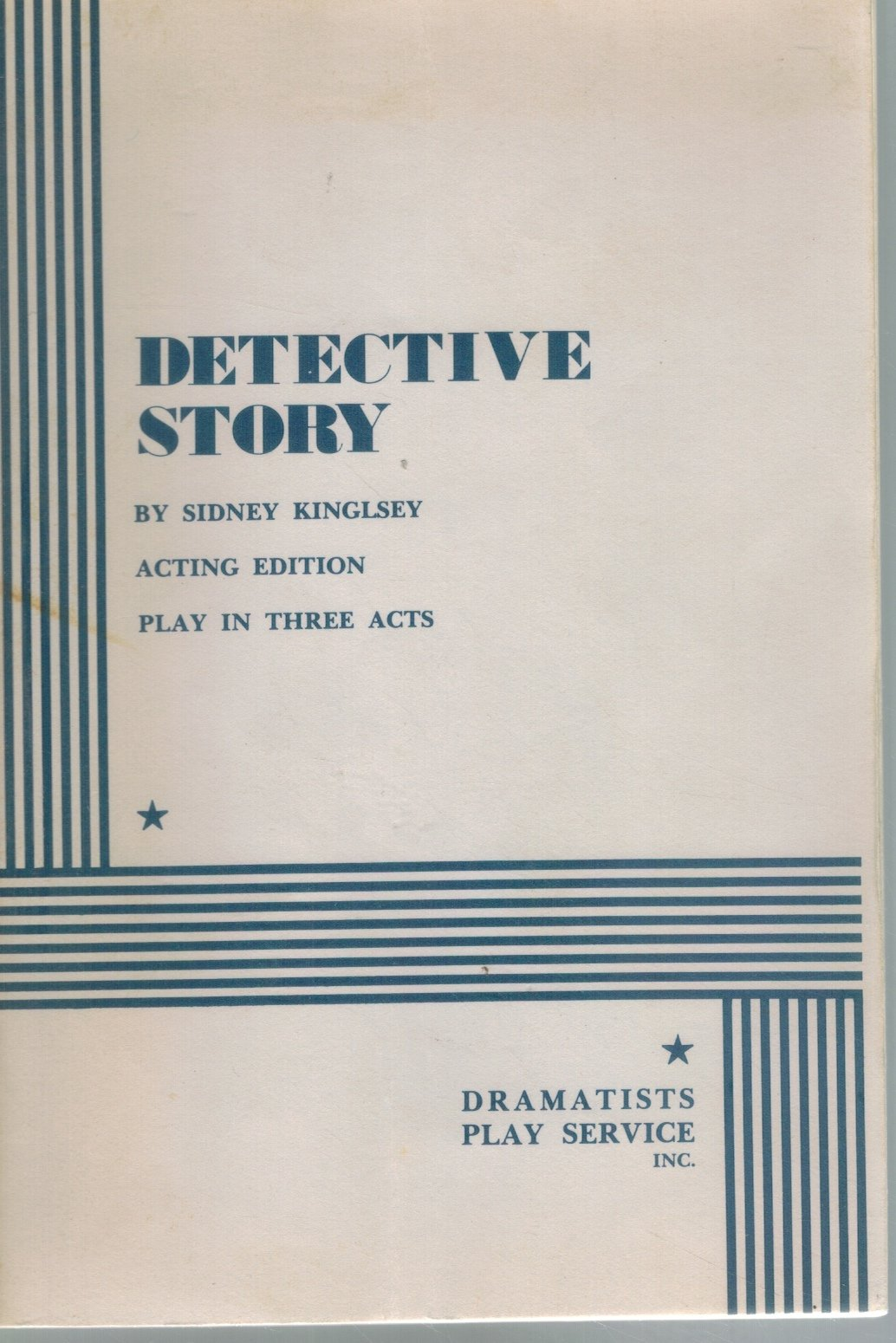 DETECTIVE STORY.  by Kingsley, Sidney &  Sidney Kingsley