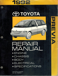 1992 TOYOTA PREVIA VAN REPAIR  MANUAL  by Toyota Corporation