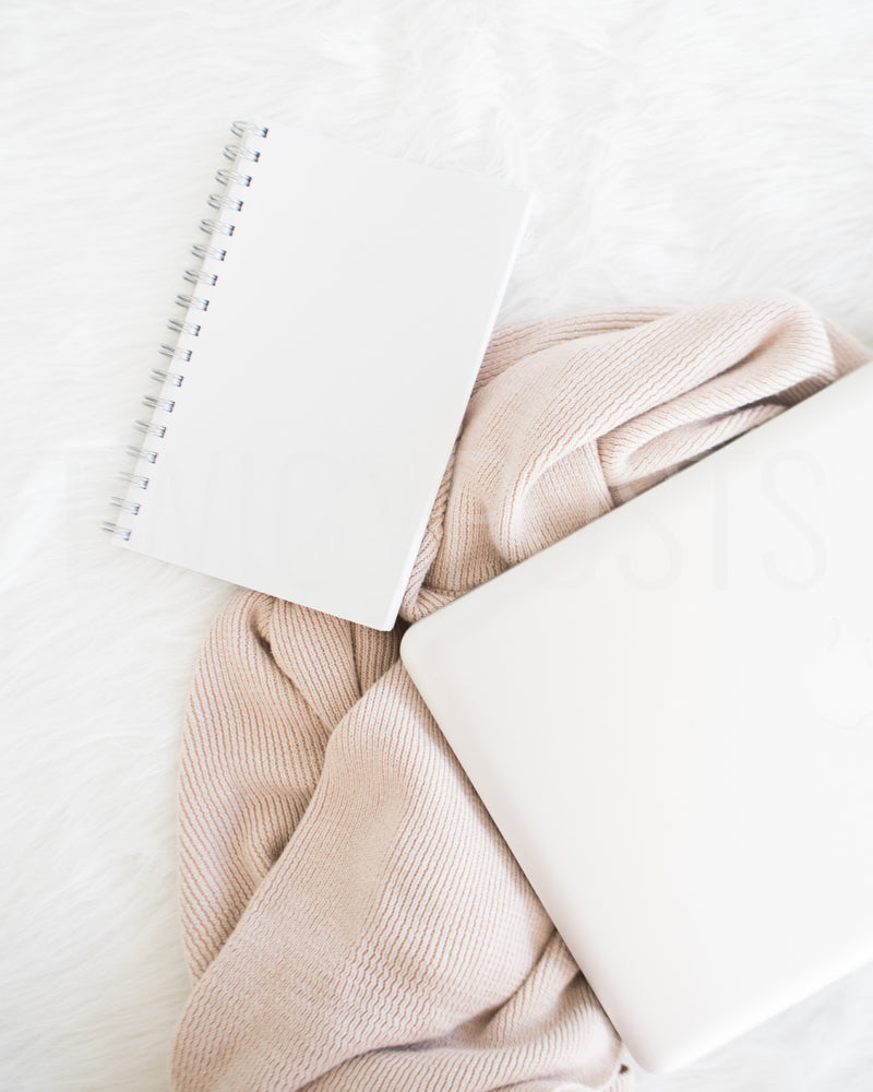 Styled Stock Photo | Blank Journal with Laptop and Pink Sweater