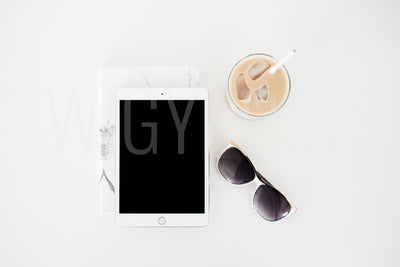 twigyposts,iPad with Iced Coffee | Desk Scene,Jana Bishop Collection,Individual Stock Photos