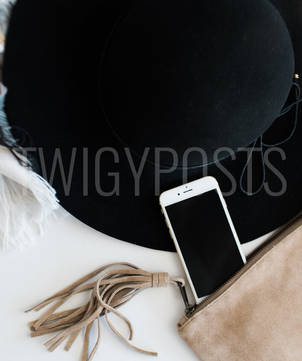 twigyposts,iPhone | Black Hat | Leather Clutch,TwigyPosts,Individual Stock Photos