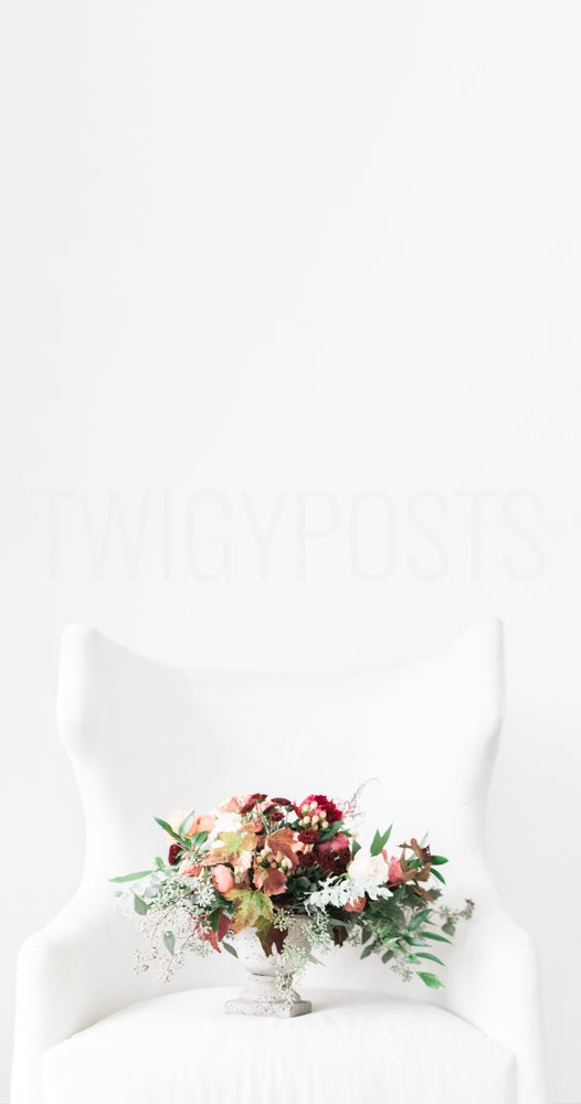 White Chair | Colorful Floral Arrangement | Plenty of Negative Space for Instagram Stories
