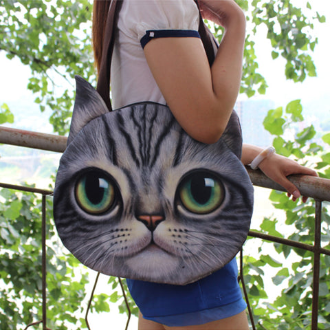 NEW 2017: Large Canvas Cat Face Shoulder Bag For Women (Soft, 3D Print)
