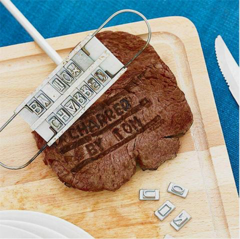 Best Selling BBQ Branding Iron Tool Set + Changeable Letters For Meat, Steak And Burger  - DIY Barbecue
