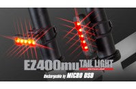 CROPS RED LED LIGHT EZ400MU MICRO USB RECHARGEABLE TAIL LIGHT