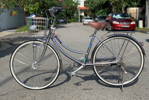 KAWASAKI 24 INCH 3 SPEED SILVER CHROME + FREE BIKE LOCK