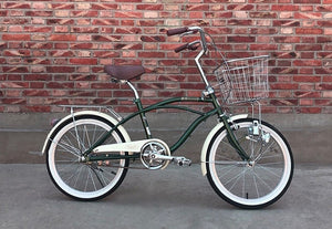KAWASAKI BEACH CRUISER 20 INCH NAVY GREEN 6 SPEED