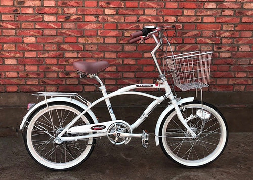 KAWASAKI BEACH CRUISER 20 INCH PEARL WHITE 6 SPEED (PREORDER AVAILABLE MID DECEMBER)