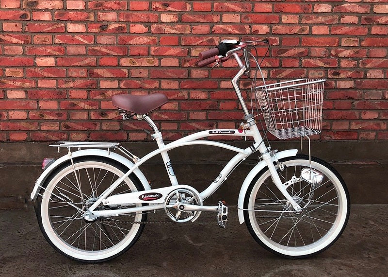 KAWASAKI BEACH CRUISER 20 INCH PEARL WHITE 6 SPEED